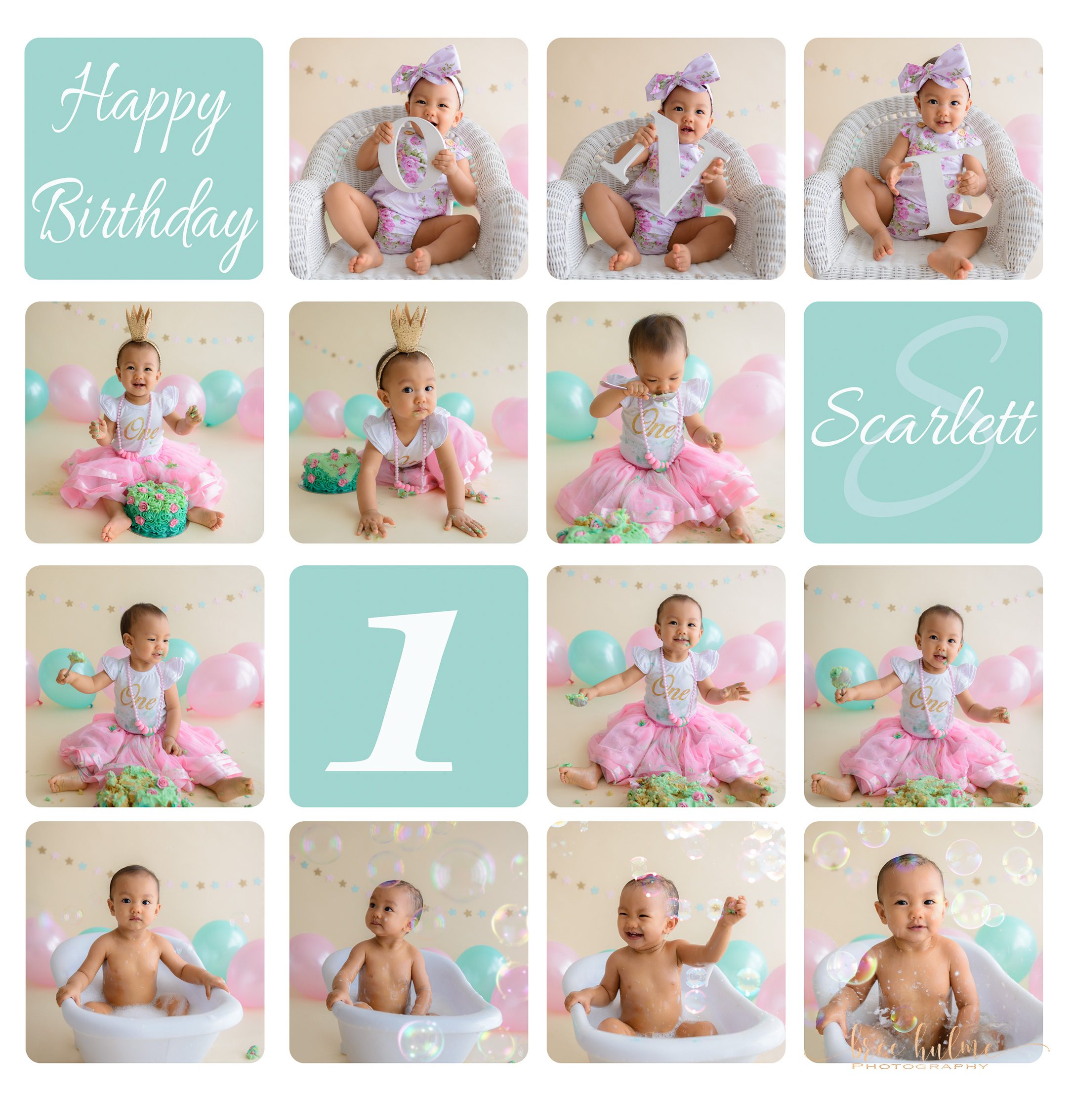 pink and mint baby girl cake smash and splash portraits for your babies 1st birthday with Bree Hulme Photography on Sydney's Northern Beaches and North Shore