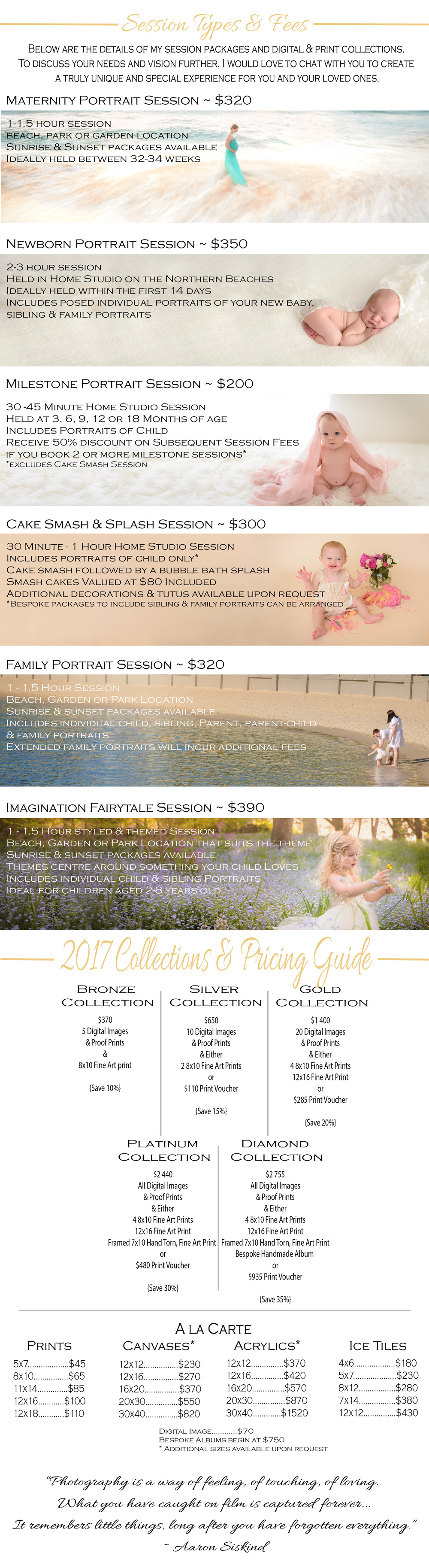 Bree Hulme Photography Packages and Collections Price List Investment Pricing