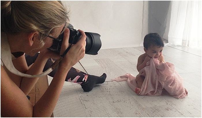 behind the scenes sneak peek into a newborn session at Bree Hulme Photography Studio
