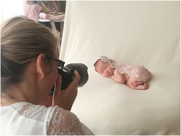 Behind the scenes of a newborn portrait session at Bree Hulme Photography