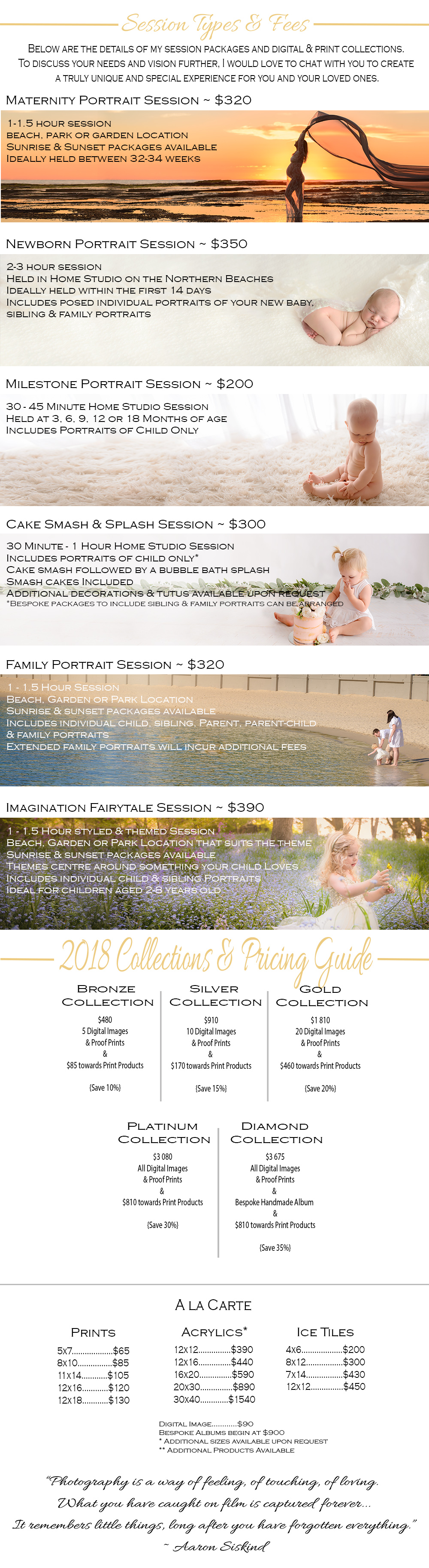 Bree Hulme Photography Pricing guide, collections and products