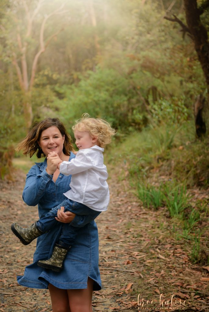 Using Play during a family session with Bree Hulme Photography Bushland Family portraits Northern Beaches Sydney North Shore