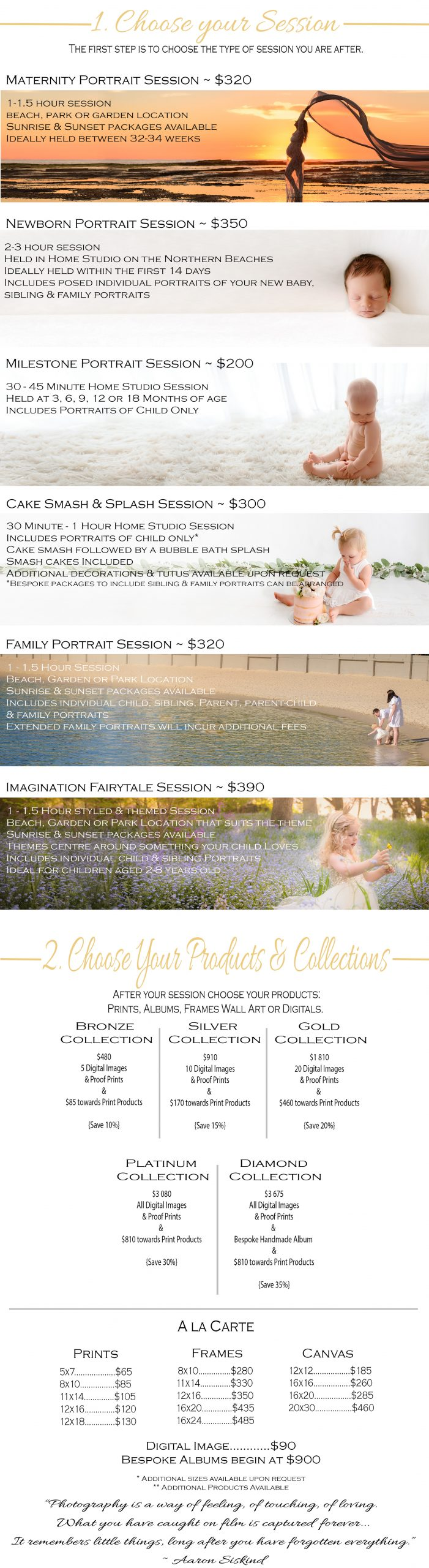 Bree Hulme Photography Price List choose your Session Choose your Products Newborn Baby Family Photographer Sydney North Shore Northern Beaches