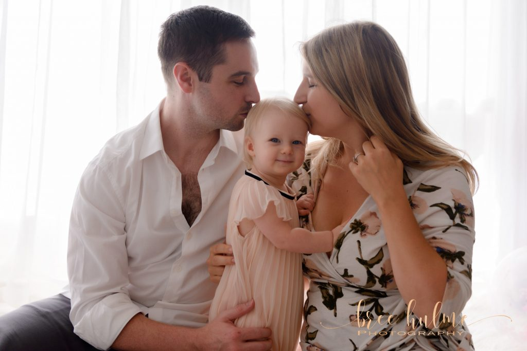 Celebrate your babies 1st birthday without the cake with Bree Hulme ePhotography in studio family portraits 1st Birthday family portraits